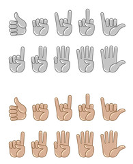 Hand gesture set on a white background