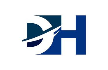 DH Negative Space Square Swoosh Letter Logo