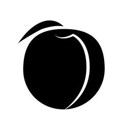 Peach fruit with leaf on a white background. Black fruit with white stroke. Vector illustration.