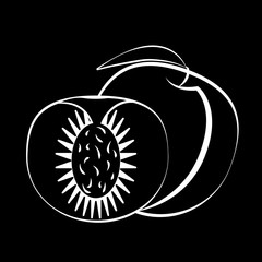Peach fruit and slice with leaf on a black background. Black fruit with white stroke. Vector illustration.