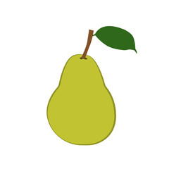 Fresh green pear with green leaf icon. Vector illustration.