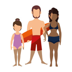 happy family wearing swimsuit icon over white background colorful design  vector illustration