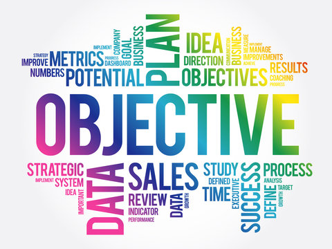 Objective word cloud collage, business concept