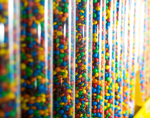 Shop of tasty sweets multicolored jellybeans