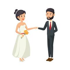 cartoon happy wedding couple icon over white background vector illustration