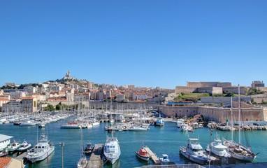 Foto auf Acrylglas Port mucem et Vieux port de Marseille vu depuis le fort Saint-Jean