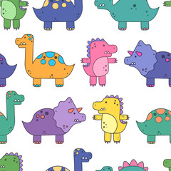 Seamless vector pattern with dinosaurs. Funny dinosaurs. Cartoon background. Design elements
