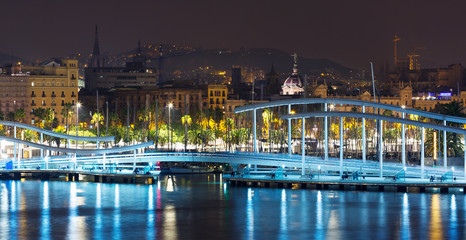 View to Port  of Barcelona with bridge in night