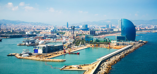 Self adhesive Wall Murals Barcelona Port Vell and La Barceloneta district in Barcelona