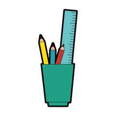 cup with pencils and utensils icon over white background vector illustration