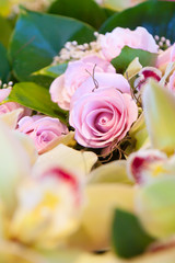 Pink Roses and Yellow Flower Bouquet detail
