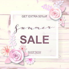 Advertisement about the summer sale on wood background with beautiful paper flowers. Vector illustration.