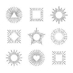 Sunburst ink hand drawn vector set. Part two.