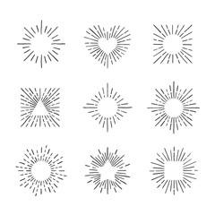 Sunburst ink hand drawn vector set. Part one.