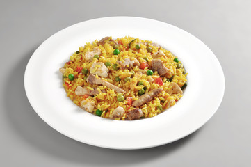 Dish of meat paella