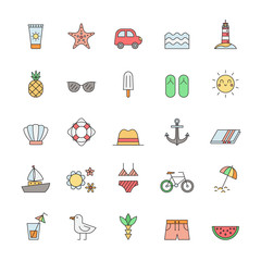 Summer and sea beach outline multicolored icon vector set.