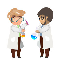 Two man chemist with test tubes and flasks, glass beaker.