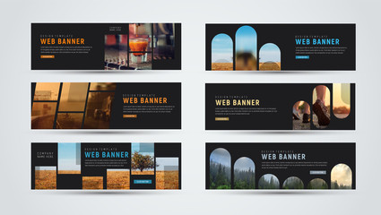 set of black horizontal web banners of standard size with different geometric elements