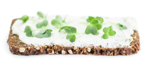 Cress with Cheese on a slice of bread isolated on white