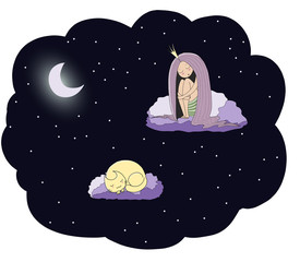 Hand drawn vector illustration of a sleeping princess and cat floating on the clouds among the stars under the moon.