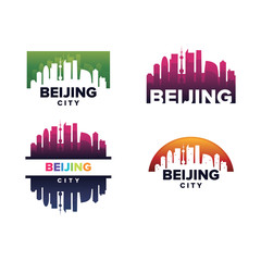 Cityscapes Skylines of Beijing City Silhouette Logo Template Collection