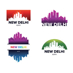 Cityscapes Skylines of New Delhi City Silhouette Logo Template Collection