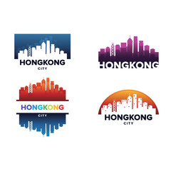 Cityscapes Skylines of Hongkong City Silhouette Logo Template Collection