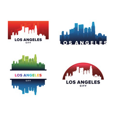 Cityscapes Skylines of  City Los Angeles Silhouette Logo Template Collection