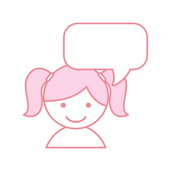 cute little girl with speech bubble vector illustration design