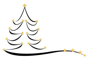 Drawn Christmas tree with stars, 3D illustration