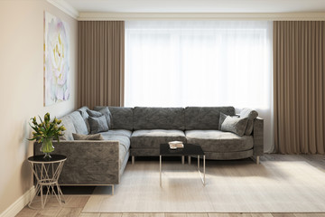 3d rendering of a modern living room with a gray sofa 1