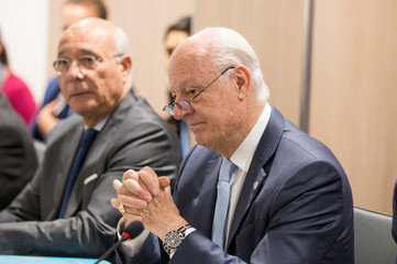 UN Special Envoy of the Secretary-General for Syria Staffan de Mistura attends a new round of negotiation with Syria's government delegation during the intra-Syrian talks, at Palais des Nations in Geneva
