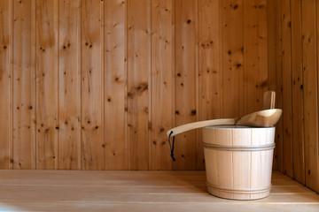 Aufguss Eimer in einer sauna