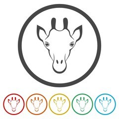 Giraffe face, flat animal face icons set
