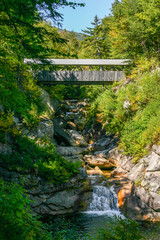 Bridge in New Hampshire over a stream in the mountains
