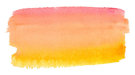 Pale pink to bright yellow gradient painted in watercolor on clean white background