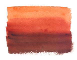 Orange to warm brown gradient painted in watercolor on clean white background