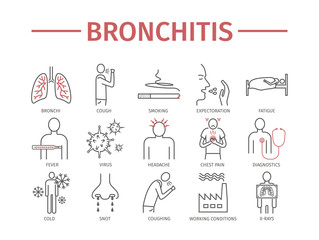 Bronchitis. Symptoms, Treatment. Line icons set. Vector signs