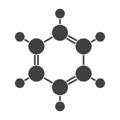 Benzene molecular model, vector silhouette on white background