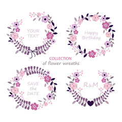 Collection of floral frames. Set of cute flowers arranged un a shape of the wreath perfect for wedding invitations and birthday cards. Set of flower invitation cards. Vector illustration.