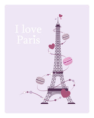 I Love Paris. Vintage card with a picture of the Eiffel Tower. Vector illustration.
