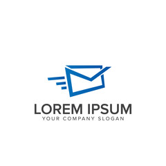 fast mail logo design concept template