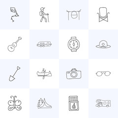 Set Of 16 Editable Camping Icons. Includes Symbols Such As Caravan, Boat, Photographing And More. Can Be Used For Web, Mobile, UI And Infographic Design.