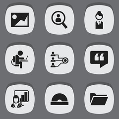 Set Of 9 Editable Office Icons. Includes Symbols Such As Person Working On Computer, Dossier, Comment And More. Can Be Used For Web, Mobile, UI And Infographic Design.