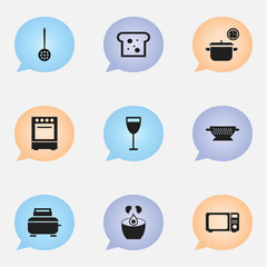 Set Of 9 Editable Restaurant Icons. Includes Symbols Such As Saucepan, Break Eggs, Wave Oven And More. Can Be Used For Web, Mobile, UI And Infographic Design.