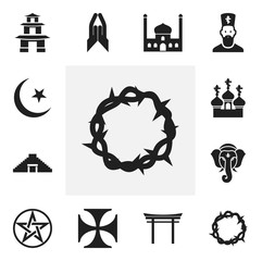 Set Of 12 Editable Dyne Icons. Includes Symbols Such As Teutonic, Religious Sewn, Indian Elephant And More. Can Be Used For Web, Mobile, UI And Infographic Design.
