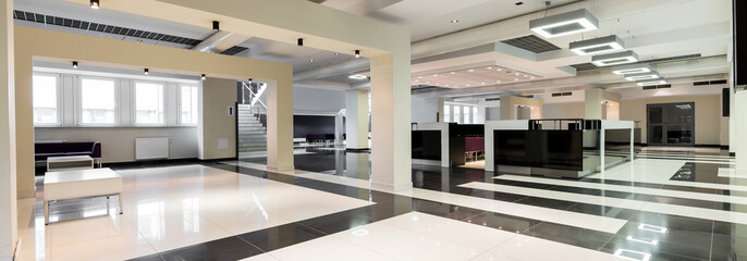 Modern university with spacious hallway