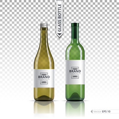 White wine and brandy or liquor bottles isolated on transparent background. Vector 3d detailed mock up set illustration