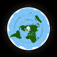Cardinal direction on flat earth map. Isolated vector illustration.