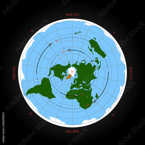 Flat Earth Map Download.Cardinal Direction On Flat Earth Map Isolated Vector Illustration